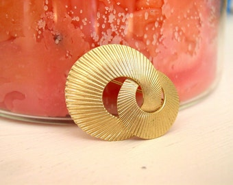 Vintage Christian Dior Brooch / 1970's Designer Signed Pin / 70's Gold Tone Mid Century Modern Modernist Costume Jewelry