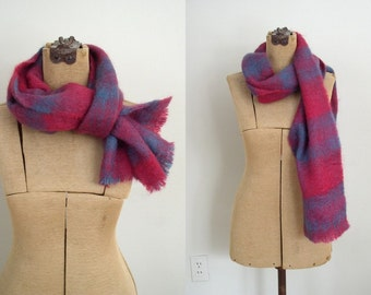 Vintage Mohair Scarf / Handwoven Artisan Cranberry Red & Blue Green Ombre Plaid Wool Wrap / Jeweltone Winter Scarf