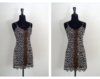 Vintage 1950's Vanity Fair Leopard Lingerie / Jungle Jane Nightie / 50's Brown & Black Animal Print Chemise