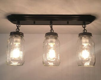MASON JAR Light Rectangular Trio with New Quarts-Flush Mount Ceiling Fixture Rustic Farmhouse Glass Chandelier Lighting Track by LampGoods
