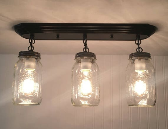Mason Jar Light Rectangular Trio With New Quarts Flush Mount