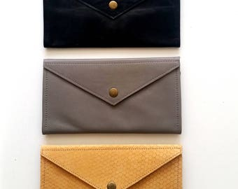 Camel Snake Pattern envelope  wallet - leather women wallet
