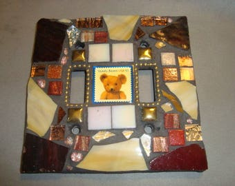 Teddy Bear MOSAIC LIGHT SWITCH Cover - Wall Plate, Bronze, Gold, Brown, Yellow