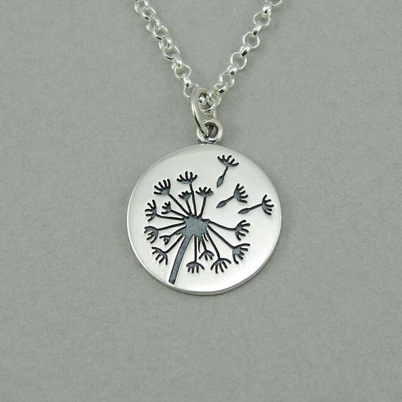Dandelion flowers necklace sterling silver dandelion pendant for Same day jewelry repair