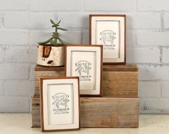 4x6 Picture Frame in 1x1 2-Tone Style with Vintage White Finish - IN STOCK - Same Day Shipping - Handmade 4x6 Photo Frame White
