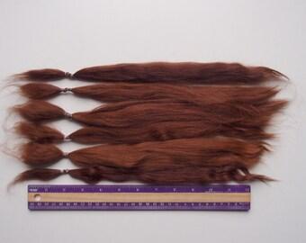 Suri Alpaca auburn brown combed locks 30-35 cm/ 35 gr for Doll Hair - Blythe wig, pullip, doll wig, reborn, reroot, bjd, lafiabarussa