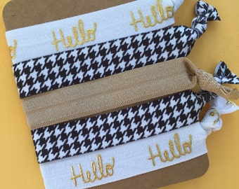 5 Pack Hello Houndstooth Gold Inspired Knot Hair Ties Fold Over Elastic Stretch Bracelet by Whimsical Elements