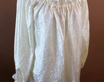 Size Small Jacquard Off White Hip Length Chemise  Renaissance Costume Dress Chemise Medieval Peasant Shirt