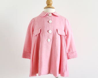 "Vintage 1960s Girls Size 12M About-Town Pink Rayon Linen Swing Coat / chest 26"" length 15"" / Spring Semi-Formal Outerwear"