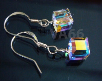 925 Sterling Silver Swarovski Crystal Cube 6mm Earrings Wire Wrap 21 Colors 14k gold Choice Bride, Bridesmaids, MOB, Prom, Bridal Party
