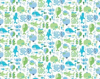 Whale of a Time Quilts for Kids Sea Critters Shark Octopus Under Water Ocean Fish on White Fabric by Northcott
