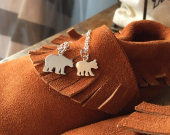 Mom and child necklace set- gift for mom - sterling necklace set- personalized jewelry- gift for child- mama and baby bear- mama bear
