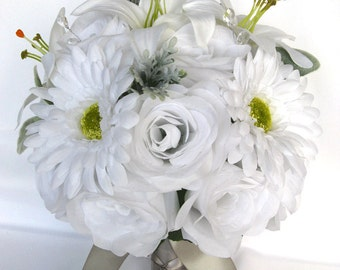 "17 Piece Package Wedding Bouquets Bridal Bouquet Wedding Silk flowers WHITE SILVER Winter Lily Daisy Wedding Centerpiece ""RosesandDreams"""