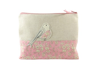 Pink Makeup Bag,  Bird Lover Gift, Cosmetic Case, Mothers Day Gift, Makeup Case, Zip Pouch, Personalised Gift for Women