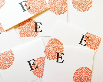 Custom Hand Stamped. Initial notecards. Personalized Gift for Mom under 20. Letter cards. Colorful Initial. Hand stamped cards. Gift for her