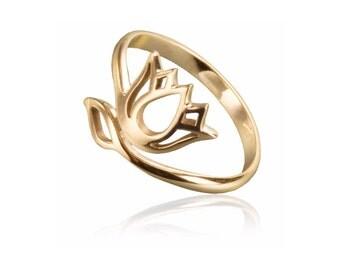 Dainty Lotus flower ring, Bronze lotus ring, Adjustable ring, Charm jewellery, Yoga jewellery, Boho Ring, Tribu