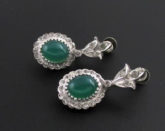 Sterling Silver Rhinestone Earrings, Green Stone Earrings, Sterling Silver Earrings, Green Earrings, Green Drop Earrings