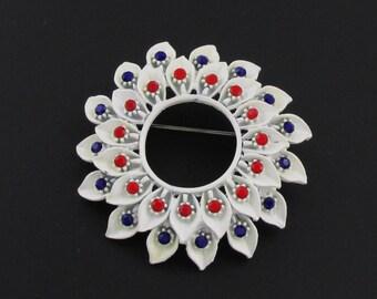 White Rhinestone Brooch, White Enamel Brooch, Red Rhinestone Brooch, Blue Rhinestone Brooch, Fourth of July Jewelry, Patriotic Brooch