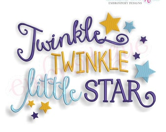 Twinkle Twinkle Little Star - Baby Nursery-  Instant Download Machine Embroidery Design