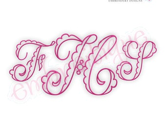 Fallyn Scalloped Monogram Set - BX Files included- Instant Download Machine embroidery design