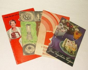 4 vintage Kitchen Appliance Cookbooks • Figidaire . Osterizer . Monarch . Sunbeam