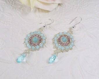 Woven Mandala Earrings Swarovski Aqua Drops