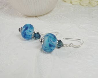 Lamp Work Earrings Blue and Sterling Silver Gifts for Her