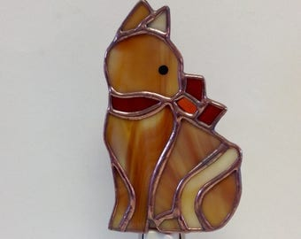 Calico Cat Night Light in Stained Glass