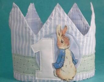 Shabby Chic Peter Rabbit birthday crown, first birthday crown, G225, birthday photo prop