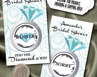 10 Party Game Scratch Off Cards, Activity Game Card, Bridal Shower, Engagement Party, Birthday, Aqua Blue Green, Turquoise, Diamond Ring,