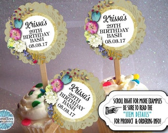 12 Cupcake Picks, Cupcake Topper Decorations, Watercolor Florals, Flowers, Gold Colors, Wedding, Bridal Shower, Baby Shower, Birthday