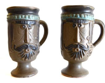 Vintage Bennett Welsh Pacific Stoneware Male Face and Hands Figural Mug Set of Two Taller Sized