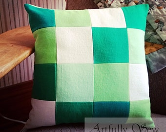 Green Upcycled T-Shirt Pillow St Patricks Day Recycled Repurposed