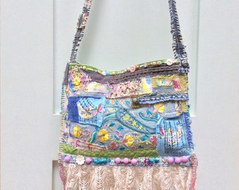 Shabby Chic Crossbody Bag, Whimsical, Bohemian in Blues, Green, Purples  and Yellow