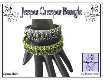 Beading Tila Pattern, Tutorial, Bangle - JEEPER CREEPER