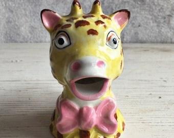 Handpainted vintage ceramic giraffe creamer, giraffe pitcher, collectible creamer, giraffe lover gift, vintage creamer, vintage giraffe jug