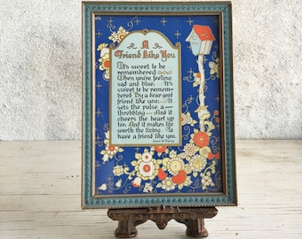 Vintage framed Friend poem by Grace M. Frame, Sweet to be remembered poem, leaving behind best friend gift friendship, framed poem print