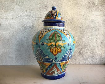 Vintage Talavera lidded jar, Talavera pottery ginger jar tibor, turquoise yellow blue, Mexican pottery Majolica urn, Mexican decor