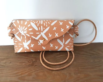 Hand Stitched Leather Mini Crossbody Bag in Big Sashiko in White