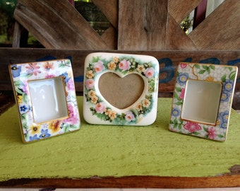 Lot of 3 Miniature Porcelain Floral Picture Frames  by Terragraphics and Two's Company