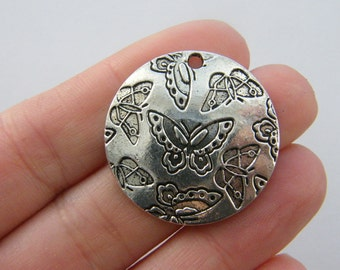 2 Butterfly pendants antique silver tone A60