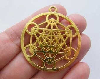 2 Merkaba meditation pendants gold tone  GC72