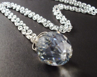 Wire wrapped Large Clear Faceted Crystal with Silver chain necklace