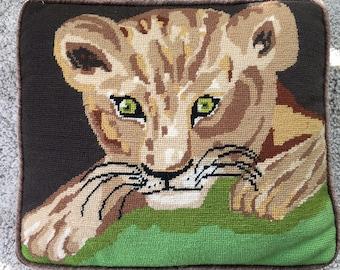 Vintage 70s Lion Cub Needlepoint Pillow