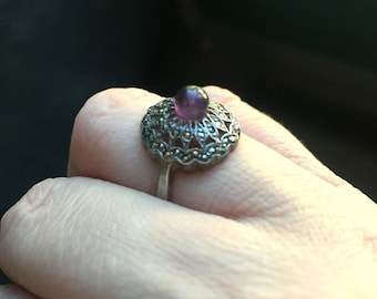 Amethyst Marcasite Ring - Sterling Silver - Vintage