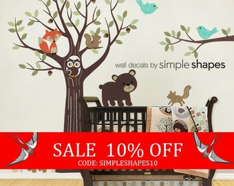 Sale - Wall Decals Nursery Tree with Forest Friend - Kids Wall Decals Nursery