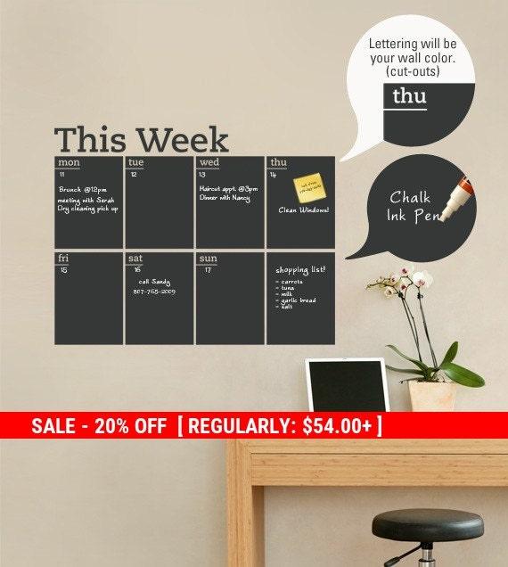 Holiday Sale - Weekly Planner Chalkboard Calendar - Modern Vinyl Wall Decal