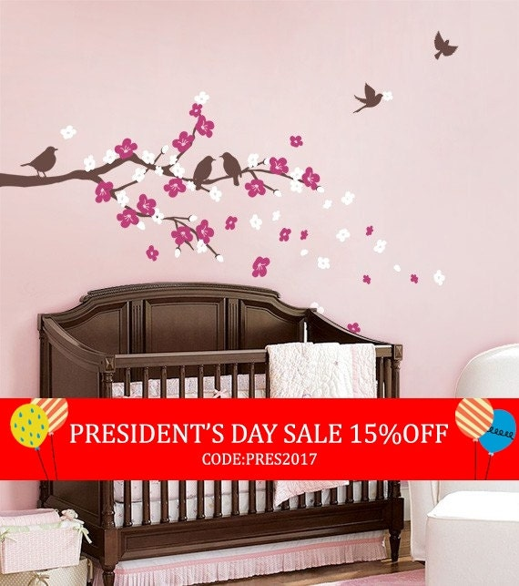 President's Day Sale - Cherry Blossom Branch with Birds - Kids Vinyl Wall Sticker Decal Set
