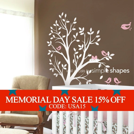 Memorial Day Sale - Tree Wall Decal - THE ORIGINAL - Tree with birds and nest for Baby Nursery