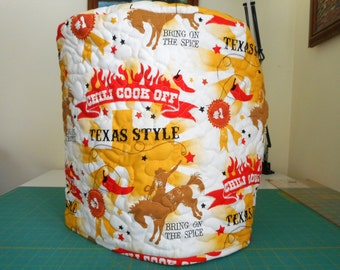 Quilted stand mixer cover - Texas style chili cook-off, hot peppers and rodeo riders